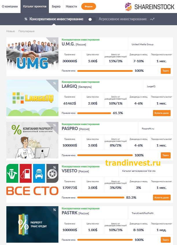 Каталог проектов shareinstock