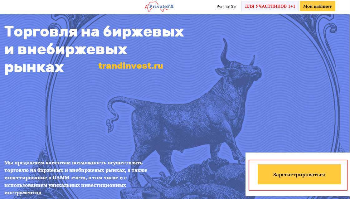 Регистрация в privatefx