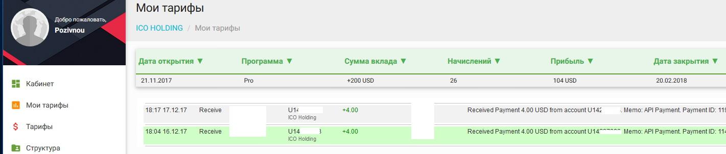 Ico holding прибыль