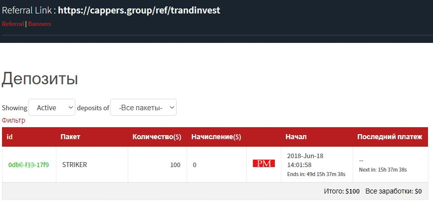 Cappers group вклад
