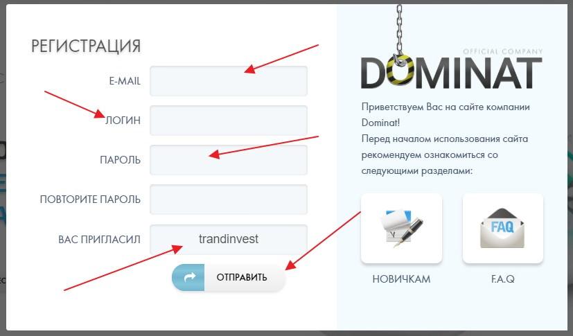 Dominat company регистрация