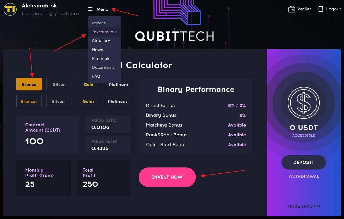 Qubittech пополнение