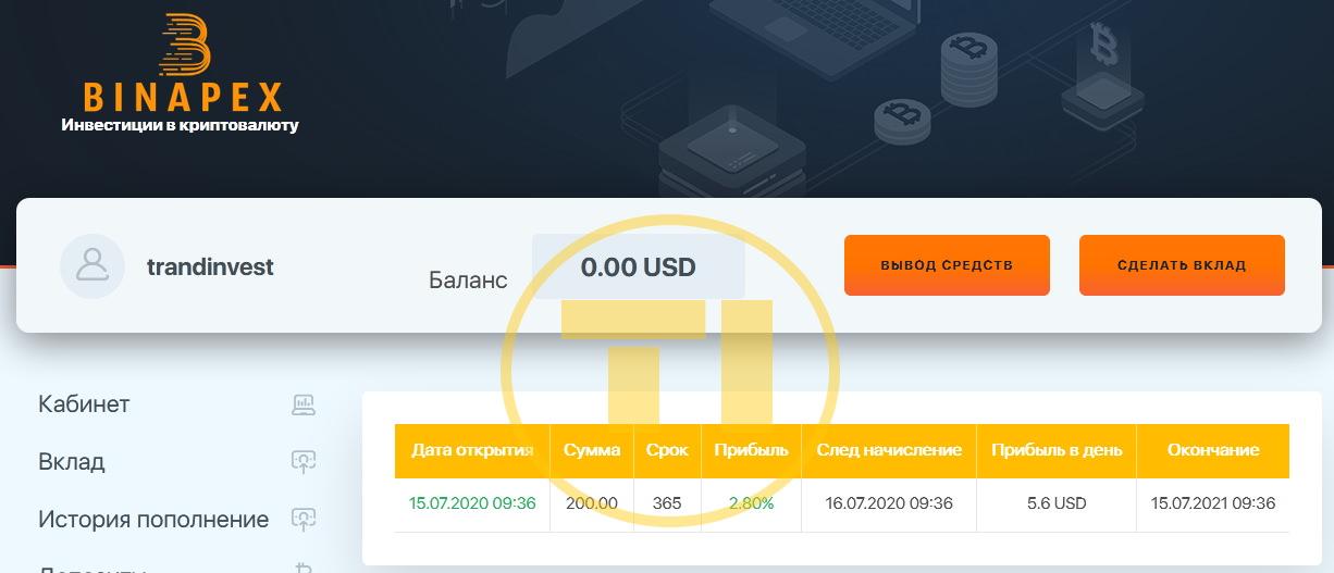 Binapex депозит
